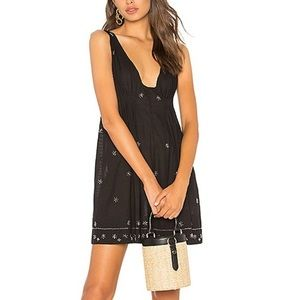 NWT FREE PEOPLE Black Sequined Plunging Mini Dress